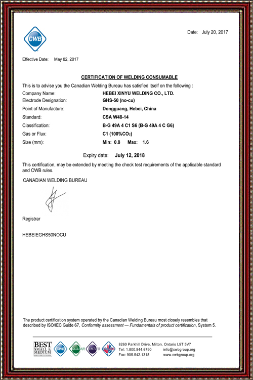 CWB Certificate
